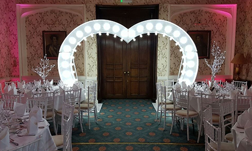 white led love heart hire